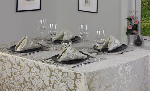 Cadiz Damask Champagne Tablecloth And Napkin Package Sets