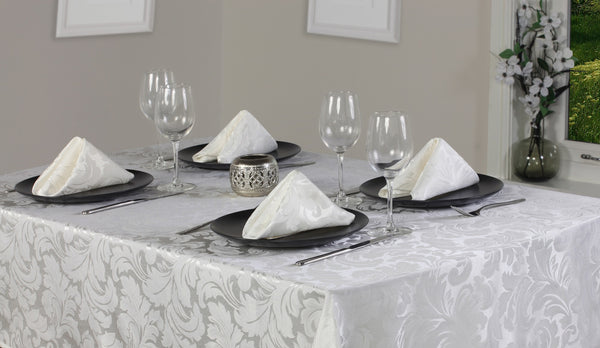 Cadiz Damask Glacier Tablecloth And Napkin Package Sets
