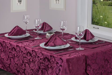 Cadiz Damask Berry Red Tablecloth And Napkin Package Sets