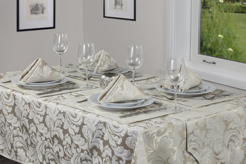Cadiz Damask Champagne Tablecloths And Accessories