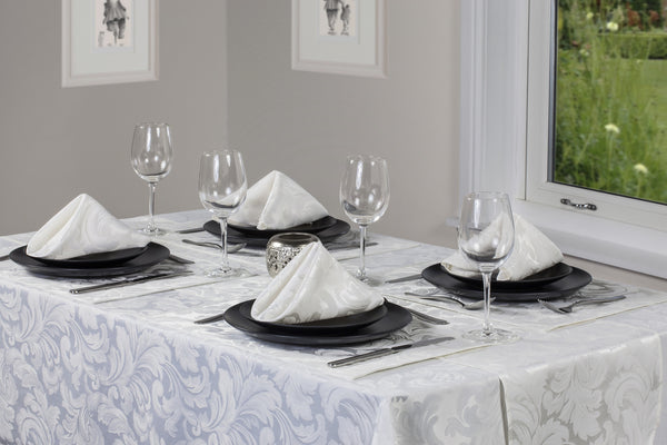 Cadiz Damask Glacier Tablecloths And Accessories
