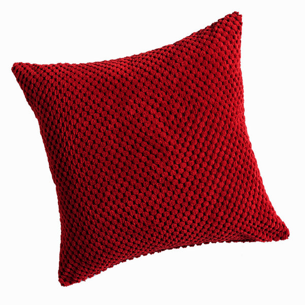 Chenille Spot Red Textured Cushion Cover - CLEARANCE PRICE