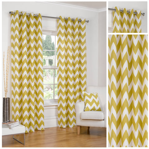 Chevron Striped Ochre Eyelet/Ringtop Fully Lined Curtains