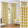 Chevron Striped Ochre Eyelet/Ringtop Fully Lined Curtains - TO CLEAR