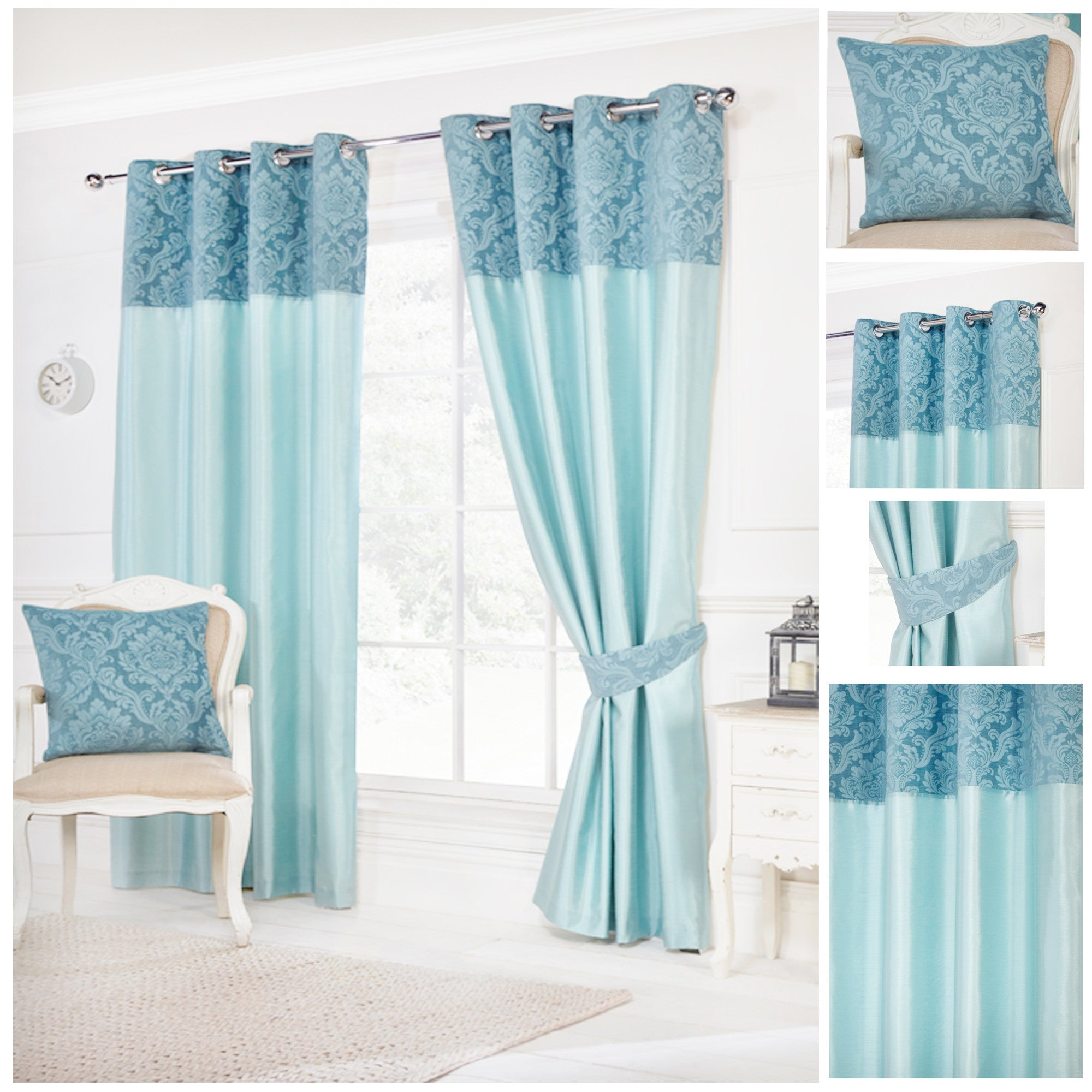 Darcy Teal Bordered Ring Top / Eyelet Fully Readymade Curtains | 4YH ...