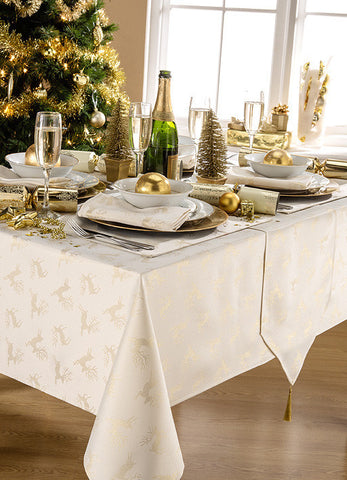 Deer Cream/Gold Christmas Tablecloth And Napkin Package Sets