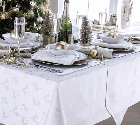Deer White/Silver Christmas Tablecloth And Napkin Package Sets