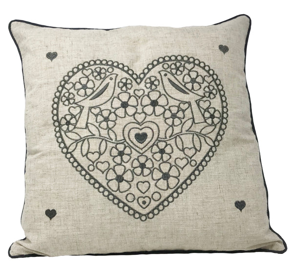 Hearts Embroidered Grey Christmas Cushion Cover - CLEARANCE PRICE