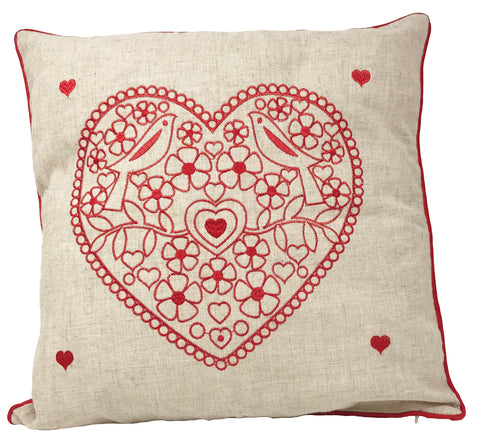 Hearts Embroidered Red Christmas Cushion Cover