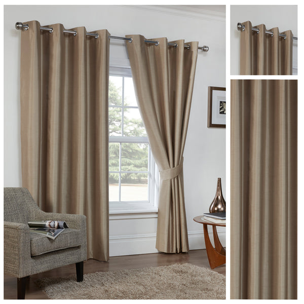 Faux Silk Cappuccino 3 Pass Blackout Eyelet/Ringtop Unlined Curtains Inc TieBacks- CLEARANCE PRICE
