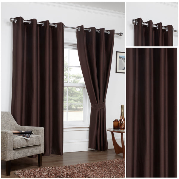 Faux Silk Chocolate 3 Pass Blackout Eyelet/Ringtop Unlined Curtains Inc TieBacks - CLEARANCE PRICE