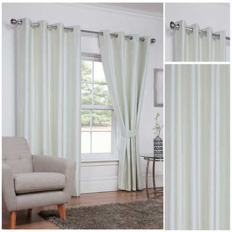 Faux Silk Cream 3 Pass Blackout Eyelet/Ringtop Unlined Curtains Inc TieBacks - CLEARANCE PRICE