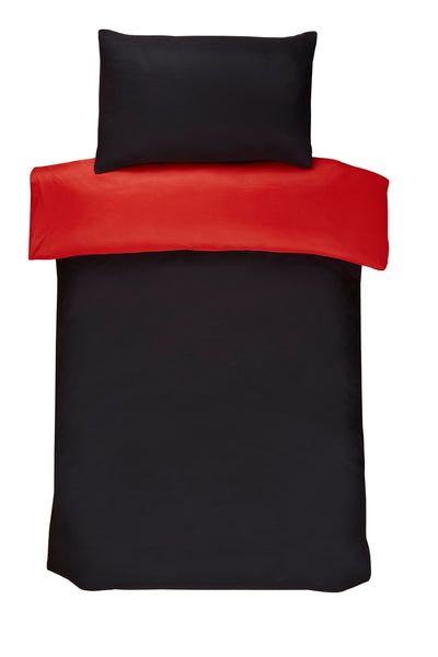 Polyester Black And Red Reversible Plain Duvet Cover Set