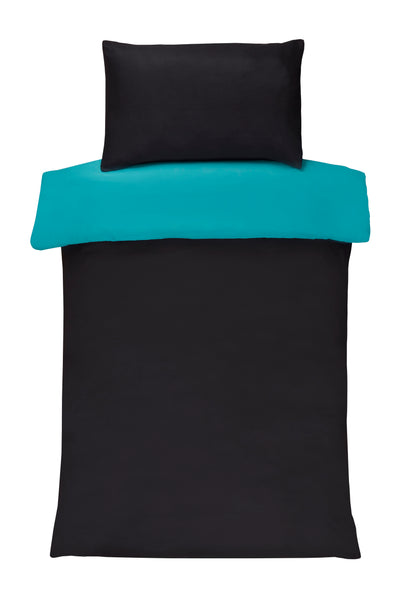 Polyester Black And Teal Reversible Plain Duvet Cover Set