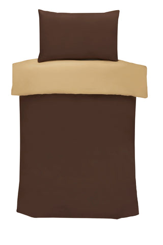 Polyester Chocolate And Latte Reversible Plain Duvet Cover Set