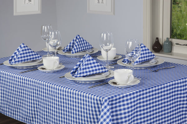Gingham Easycare Bluebell Tablecloths And Accessories