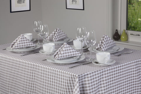 Gingham Easycare Oatmeal Tablecloths And Accessories