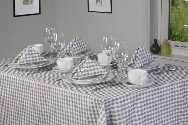 Gingham Easycare Oatmeal Tablecloth And Napkin Package Sets