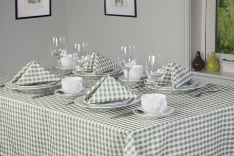 Gingham Easycare Sage Green Tablecloths And Accessories