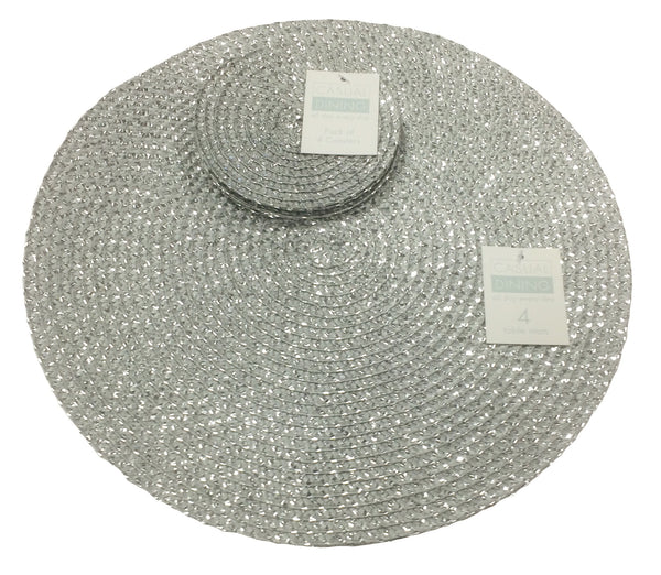 Metallic Effect Silver Package Set Of 4 Placemats And 4 Coasters
