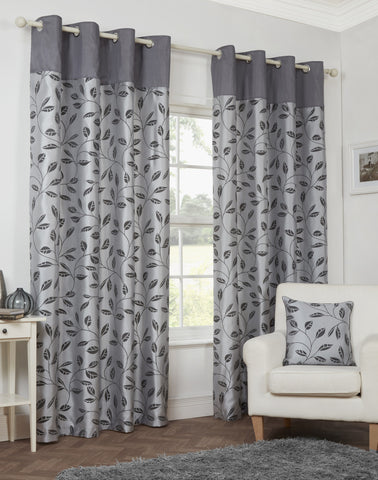 Leaf Trail Flock Lightweight Polyester Grey Eyelet/Ringtop Lined Curtains