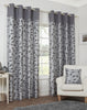 Leaf Trail Flock Lightweight Polyester Grey Eyelet/Ringtop Lined Curtains - TO CLEAR