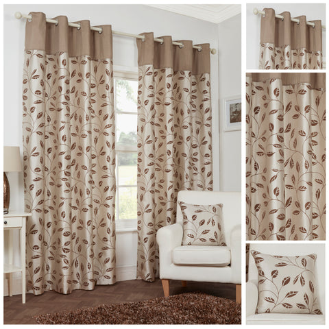 Leaf Trail Flock Lightweight Polyester Natural Eyelet/Ringtop Lined Curtains - TO CLEAR