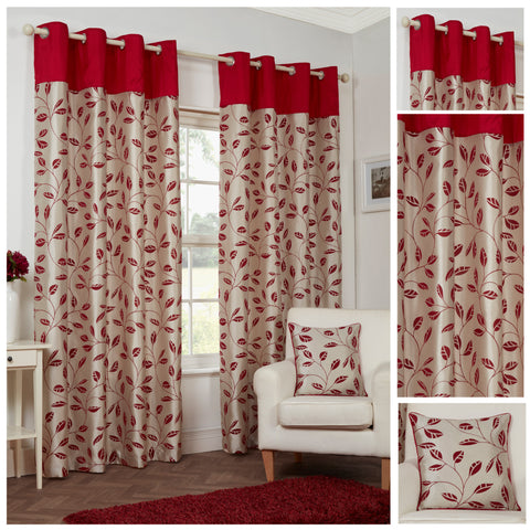 Leaf Trail Flock Lightweight Polyester Red Eyelet/Ringtop Lined Curtains
