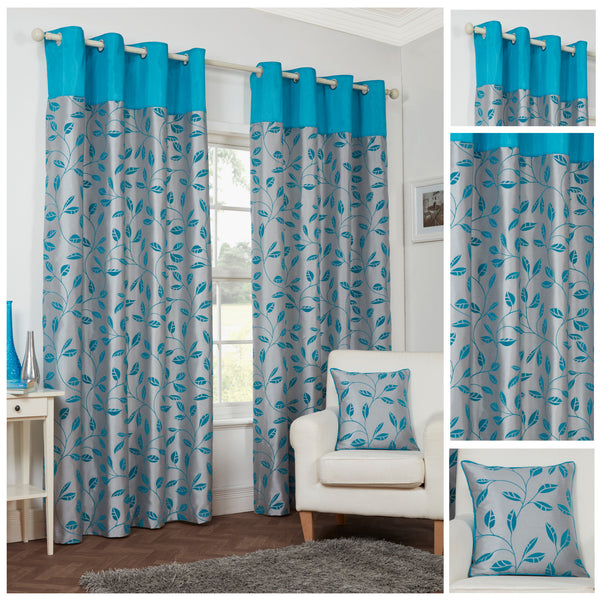 Leaf Trail Flock Lightweight Polyester Spearmint Eyelet/Ringtop Lined Curtains - TO CLEAR
