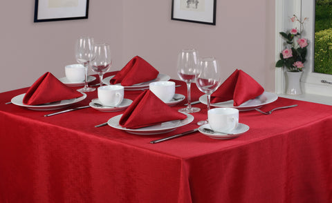 Linen Look Red Tablecloth And Napkin Package Sets