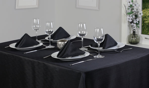 Linen Look Black Tablecloth And Napkin Package Sets