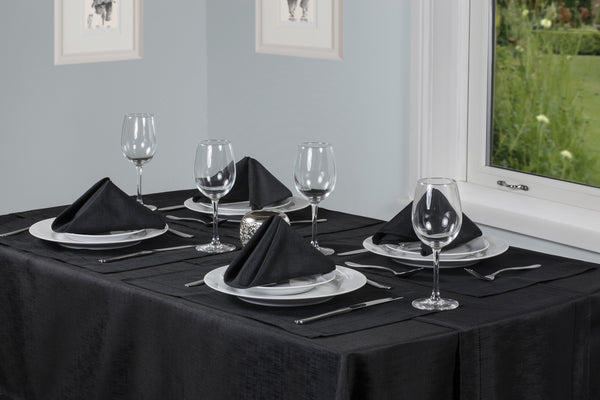 Linen Look Black Tablecloths And Accessories