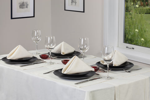 Linen Look Cream Tablecloths And Accessories