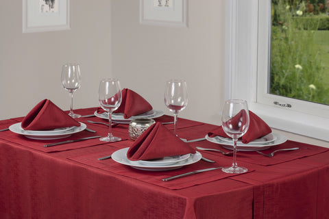Linen Look Red Tablecloths And Accessories