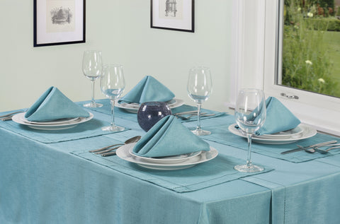 Linen Look Teal Tablecloths And Accessories