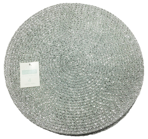 Metallic Effect Silver Pack Of 4 Placemats