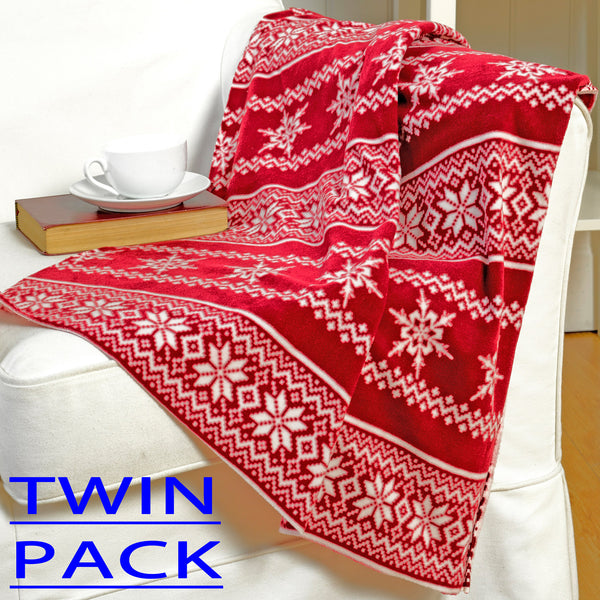 Twin Pack Nordic Design Christmas Throwover/Blanket
