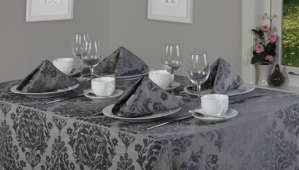 Palazzo Damask Pewter Grey Tablecloth And Napkin Package Sets