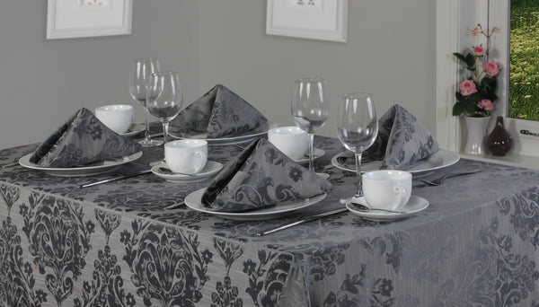 Palazzo Damask Pewter Grey Tablecloths And Accessories