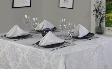 Palazzo Damask Snow White Tablecloth And Napkin Package Sets