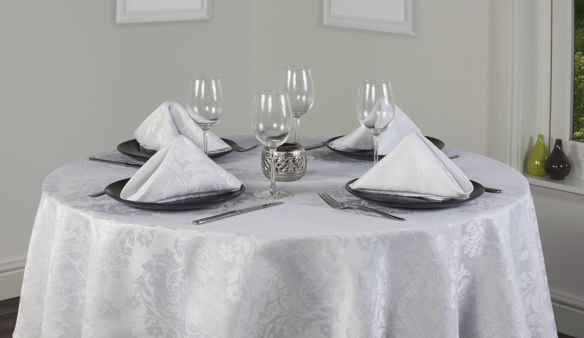 Palazzo Damask Snow White Tablecloths And Accessories Palazzo Damask Snow White Tablecloths And Accessories ... & Palazzo Snow White Tablecloth Collection | Classic Damask Design ...