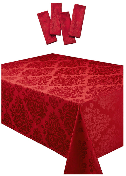 Palazzo Damask Chateau Red Tablecloth And Napkin Package Sets