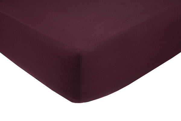 Polycotton Aubergine Fitted Sheets - TO CLEAR