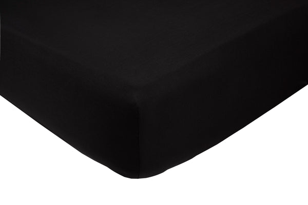 Polycotton Black Super Deep Box (16in-42cms) Fitted Sheets