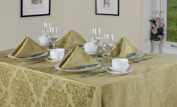 Palazzo Damask Antique Gold Tablecloth Mega Bargain Package Sets