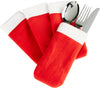 Santa's Table Christmas/Xmas Fleecy Red/White Cutlery Holder