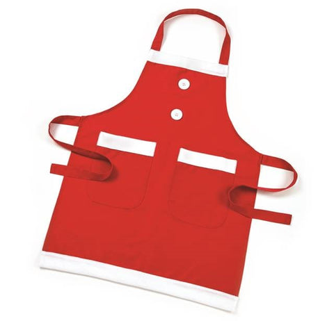 Red Christmas Apron With 2 Pockets From Santa's Table