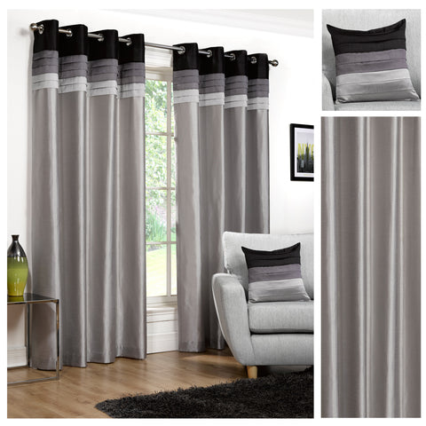 Seattle Faux Silk Black/Silver Eyelet/Ringtop Lined Readymade Curtains