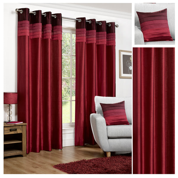 Seattle Faux Silk Red Eyelet/Ringtop Lined Readymade Curtains - TO CLEAR