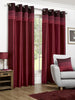 Seattle Faux Silk Red Eyelet/Ringtop Lined Readymade Curtains
